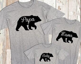 Papa Mama and Baby Bear Tees Family Matching T-Shirts Mama Bear T-shirts Unique Tee Shirts for The Whole Family Adorable Bear Clothes, bb90