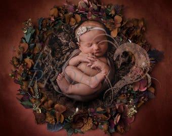 baby digital backdrop - newborn photography -  autumn flower wreath - digital prop - seasonal