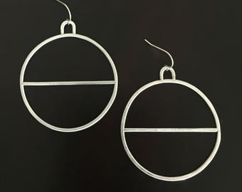 Handmade Hammered Large Silver Hoop Earrings With Loop