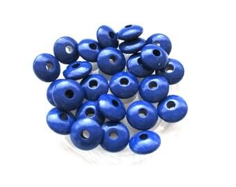 50 pacifier - Navy Blue flat wooden beads