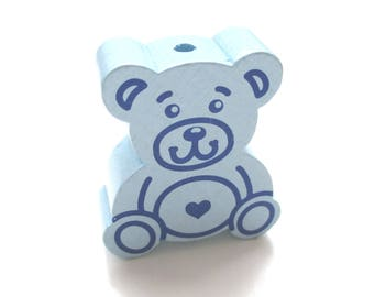 Large Teddy bear soft blue wooden bead