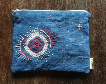 Woven cotton zipper pouch: hand dyed indigo and embroidered