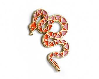 Pink & Orange Snake Enamel Pin