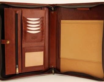 Italian  Leather Portoflio Folder Zipped Business  A4 Conference A4 Folder Padfolio Cognac with Handle