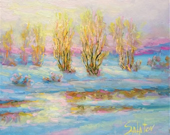 winter small oil on canvas Original painting landscape painting stream art 8x9 countryside river morning home decor present for artlover