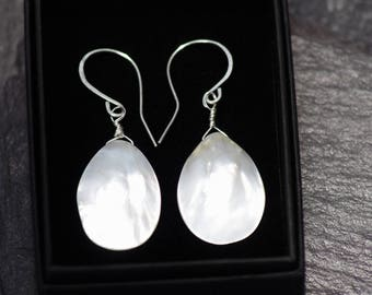 Glamorous Mother of Pearl Earrings - White Earrings - Unique Earrings - Long Drop Earrings - Elegant Dangly Earrings- Classy Silver Earrings