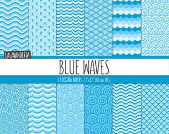 Wave Digital Paper Pack. Aqua Blue Sea Water Patterns Kit. Ocean Waves Backgrounds. Summer-Coastal Digital Scrapbook Set.
