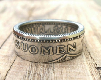 Silver Coin Ring Finland 200 and 100 markka and Double Sided - Suomen Tasavalta