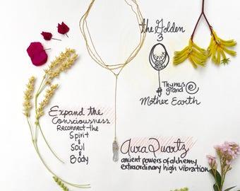 Necklace Choker Handmade Aura Quartz Crystal wedding party birthday boho jewelry