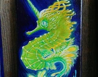 seahorse unicorn- Visionary art- Lutin's art-  5x7 - original art- magic painting