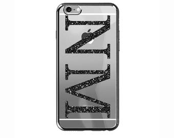 Personalised Black Glitter initials Clear Phone Case Cover for Apple iPhone 5 6s 7 8 Plus & Samsung Galaxy Personalized Customized Monogram