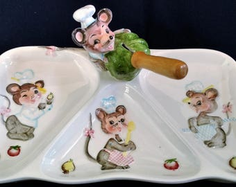 RARE, Lefton Mouse Relish Tray, Anthropomorphic, Kitschy Kitchen, Animal Lover, Mouse, 1960's; Cheese, Olive, or Condiment Server