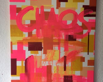 Colorful acrylic painting pink red orange yellow (50x60 cm 19,69x23,62 inch)