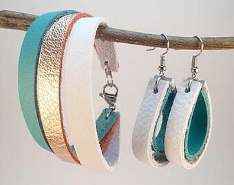 Leather Wrap Bracelet and Teardrop Earring Jewelry Set, Leather Bracelet and Earring Set, Leather Jewelry Set, Jewelry Set, Women's Jewelry