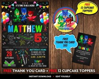 PJ Masks Invitation, PJ Masks Birthday Invitation, PJ Masks Invitation Instant Download, Pj Masks Invitation Personalized, Pj Masks Party