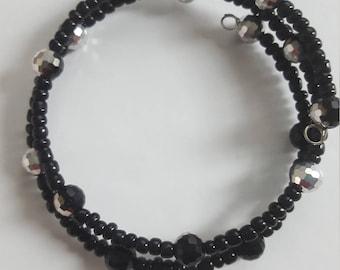 Black beaded memory wire bracelet