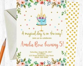 Unicorn Birthday Invitation, Unicorn Invitation, Unicorn invite, birthday invitation, Birthday Party, watercolor, Printable Invitation