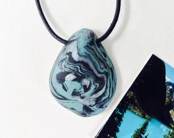 WATER 93 Nature Elements Necklace Unique Handmade Artistic Pendant Stone Adjustable Leather Cord Perfect Gift for Her