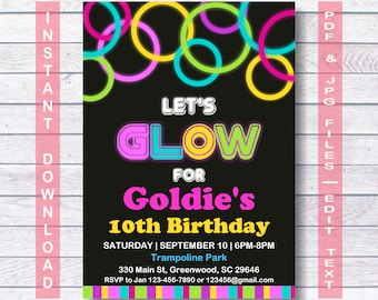 Glow Party Invitations, Neon Glow Invitation Template, Instant Download, Neon Birthday Invitation, Glow In The Dark Party, Let's Glow