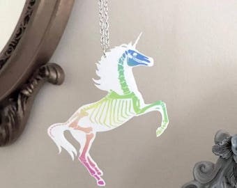 Pastel Goth Unicorn Skeleton Necklace - 2 sizes