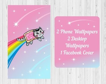 Phone iphone,pc desktop HD wallpaper background & screensaver,lock screen,facebook fb cover timeline rainbow meme nyan cat fun tumblr anime