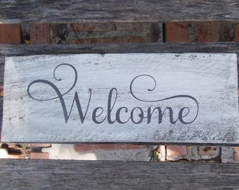 Welcome Sign. entry way. Distressed Rustic Pallet Wood.