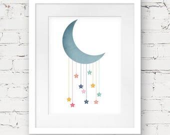 moon stars art print, moon printable, kids downloadable art, printable nursery art, nursery art print, instant download, night sky print