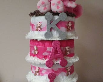 camo monkey diaper cake