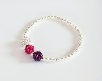 Plum, Pink & Crystal Bracelet, Silver Bracelet, Stretch Bracelet, Crystal Ball Bracelet, Sparkly Bracelet, Stacking Bracelets, Bridesmaid