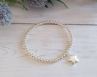 Silver Star Bracelet,Stretch Bracelet,Beaded Bracelet, Stacking Bracelet, Bracelets for Women,Gifts for Her, Silver Star Charm, Silver Stars