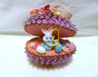 Vintage Easter Panorama Ornament Jeweled Bead Sequin Bunny Egg Cart Finished Walco Lee Ward Kit Diorama Forget-me-nots Completed Pink