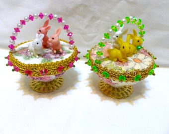 Vintage Easter Panorama Ornament Jeweled Bead Sequin Bunny Egg Basket Finished Walco Lee Ward Kit Diorama Forget-me-nots Completed Set 2 Lot