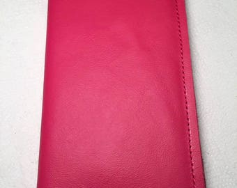 CUSTOM:  Hobonichi Weeks Jacket Slip-on Cover - Hibiscus Pink Leather - Notebook Planner Organizer