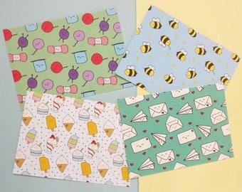 Four Postcard Pack, Kawaii Postcards, Postcard Set, Stationery Pack, Kawaii Stationery, Happy Mail, Mini Prints, Stationery Gift, Pack of 4