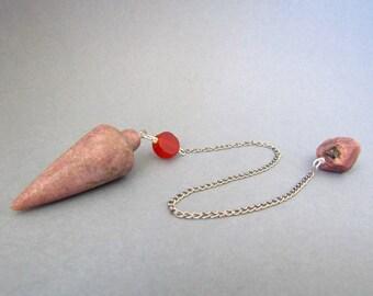 Rhodonite and Carnelian Teardrop Pendulum