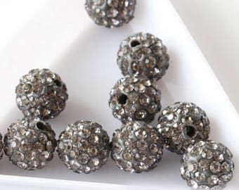 Silver Czech Crystal Rhinestones Pave Clay Round Disco Ball Spacer Bead, 8mm or 10mm,  Shamballa Beads, Jewelry Supplies, USA Seller, 5 pcs