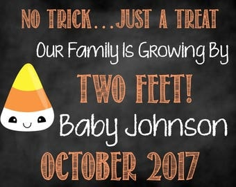 No Trick Just a Treat Pregnancy Announcement, Pregnancy Announcement