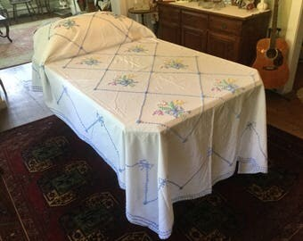 Chenille Bedspread 2 for 1 Vintage Bedding 1950s Twin Summer Spread Pink Blue Yellow Chenille Flowers White Cotton Vintage Bed Linens