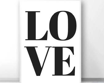 Love - Typography Poster - Monochrome Print - Minimalist - Love Print - Wall Art - Home Decor - Love Quote Print - Love