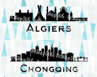 Algiers SVG, Chongqing SVG, Cities SVG, Algeria Svg, China Svg, Instant download, Eps - Dxf - Png - Svg
