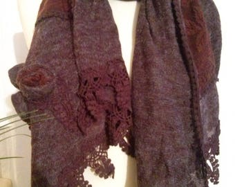 Cotton scarf, acrylic, lace and crochet Brown melange