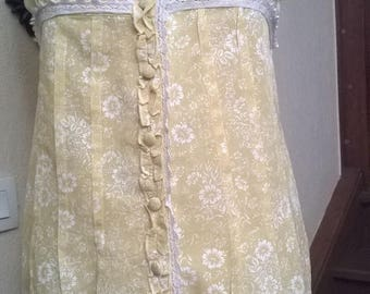 Tunic with suspenders yellow printed cotton and lace