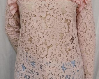 Long sleeve pink lace blouse