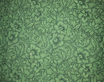 Green foral cotton calico 1 yard