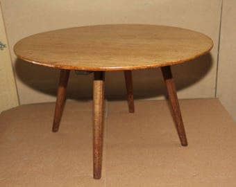 Round solid timber coffee table mid century 1970s