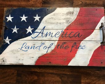 Wood Serving Tray, Patriotic Serving Tray, Patriotic, Serving Tray with Handles, Farm house Tray, Distresed Serving Tray