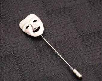 Theatre Face Lapel Pin - Silver Colour