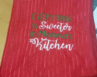 Red Embroidered Towel