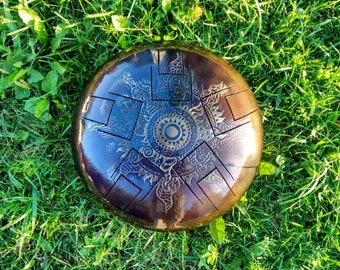 Steel Tongue Drum. Mandala. Copperplating steel drum. Ethnic music. Happy drum. Music meditation. Tank drum. Hand pan.