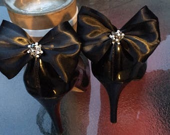 Black satin Bow with Black and clear Rhinestone center